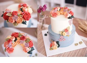 Crescent Cascading 2 Tier Cake With Roses Peonys